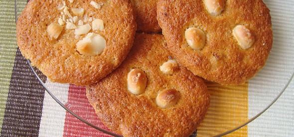 Cookies de pexego e noces de Macadamia