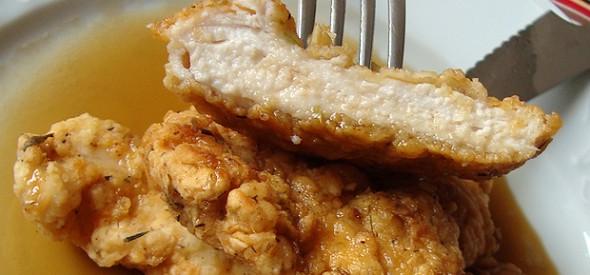 Polo rebozado ao mel
