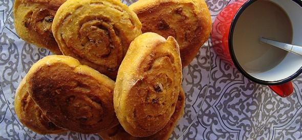 Rolos doces de batata, laranxa e noces