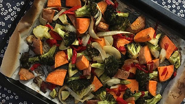 Verduras asadas con soia